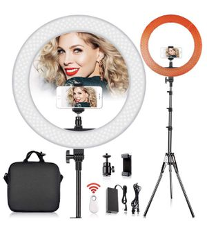 LED Ring Light with 2M Stand for Phone and Camera, 18 inches/48.5cm Outer 55W 5500K/3200K Dimmable w/Filters Carrying Bag for YouTube Vlog Makeup Stu for Sale in North Bergen, NJ