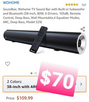 Soundbar, Wohome TV Sound Bar with Built-in Subwoofer and Bluetooth, Bocina for Sale in Pomona, CA