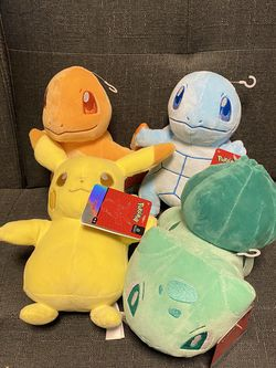 RARE SET OF 4 POKÉMON PLUSH DOLLS BULBASAUR, SQUIRTLE, CHARMANDER & PIKACHU for Sale in Calumet City,  IL