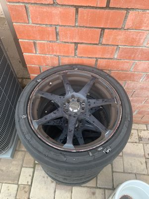 18 inches universal rims and tires for drags or donuts for Sale in San Jose, CA