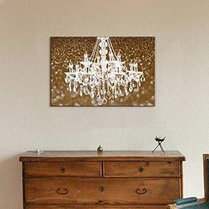 ((FREE SHIPPING)) Canvas wll art - white crystal chandelier on glittering golden background - giclee print and stretched Painting like print for Sale in San Francisco, CA