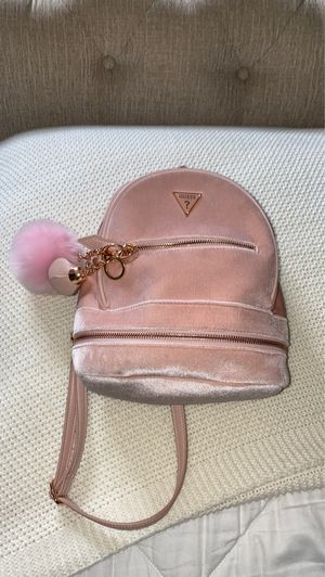 Guess mini pink velvet backpack for Sale in Las Vegas, NV