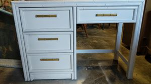 Lea White Desk with gold Handles for Sale in Raleigh, NC