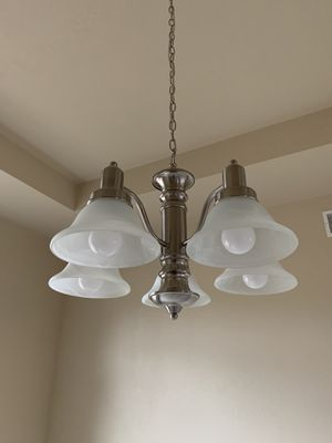 Chandelier Light Fixture- Brushed Nickel, White Frosted Glass for Sale in NO HUNTINGDON, PA