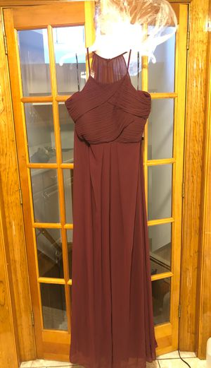 Full Length Halter Gown In Merlot for Sale in Waltham, MA