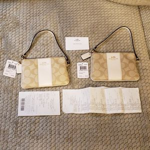 Coach Monogram C Canvas & White Leather Wristlet / Coin Purse Brand New - 2 Available for Sale in Glenshaw, PA
