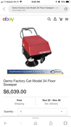 Demo Factory Cat Model 34 Floor Sweeper for Sale in Manchester, CT