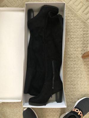 Calvin Klein Black Stretch Microsuede Thigh High Boots - Size 11 for Sale in Cedar Grove, NJ
