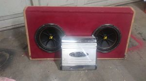 "$ KICKER 10""s WITH BOX AND 600WATT AMP. THEY SLAP. $200 . for Sale in Turlock, CA"