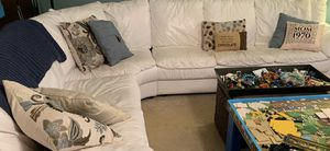 """White,leather couch. approx 116"""" x 100"""", good condition. Need to have own truck and lifters. $200 or best offer for Sale in Fort Lauderdale, FL"""