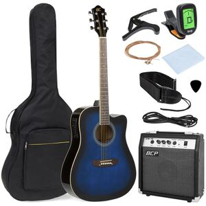 Acoustic electric cutaway guitar / with 10-watt Amp case for Sale in Des Plaines, IL