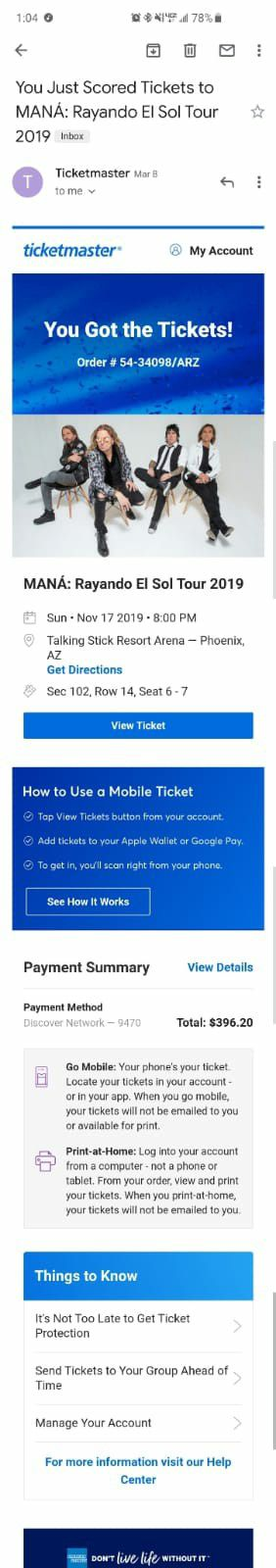 Mana 2019 Tour Tickets 11/17/2019 for Sale in Goodyear, AZ