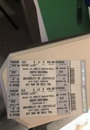 Elite eight tickets in Louisville session 2 for Sale in Lexington, KY