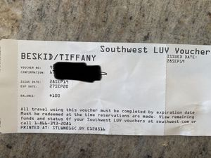 Southwest LUV voucher for Sale in Baltimore, OH