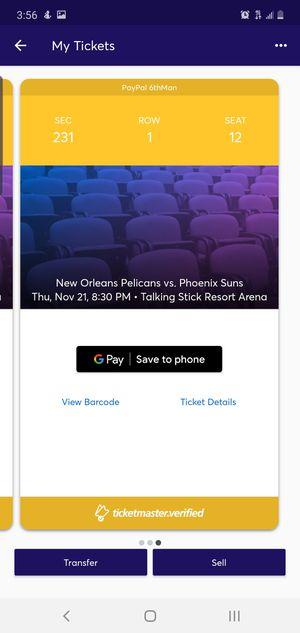 Pelicans vs Suns for Sale in Glendale, AZ