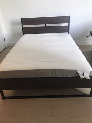 Full Size Bed frame / Headboard with Mattress (wood ) IKEA for Sale in Brooklyn, NY