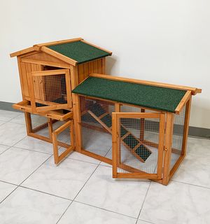 """New in box $110 Wood Rabbit Hutch Pet Cage w/ Run Asphalt Roof Bunny Small Animal House 55""""x20""""x34"""" for Sale in Pico Rivera, CA"""