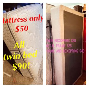 Twin bed mattress boxspring metal bed frame bed set - clean - sturdy for Sale in Tacoma, WA