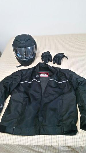 Bilt large jacket, gloves and icon helmet (L 59-60) for Sale in Takoma Park, MD
