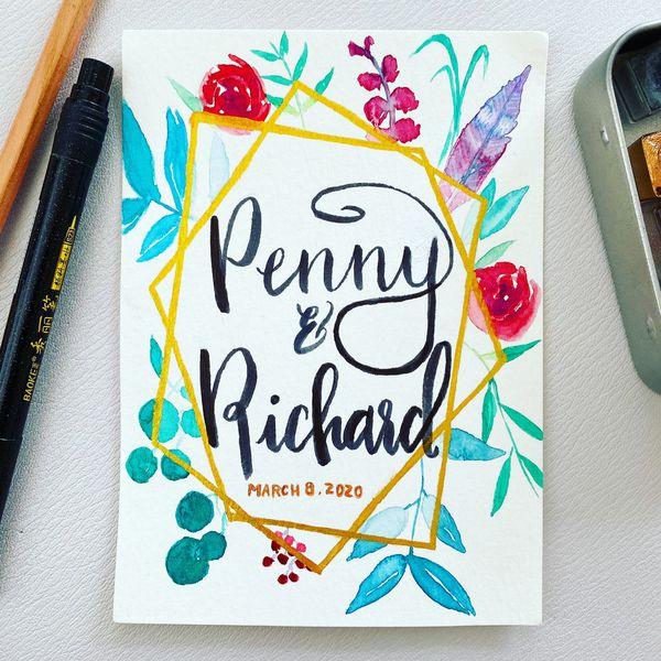 Custom message unique handmade watercolor postcard art print handmade