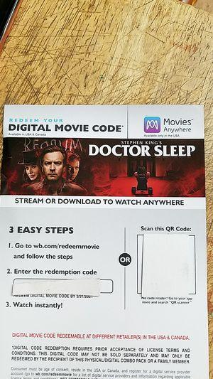 Doctor sleep digital movie code for Sale in Escalon, CA