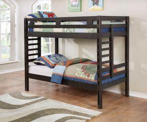 Hilshire Dark Grey Twin-Over-Twin Bunk Bed for Sale in Atlanta, GA