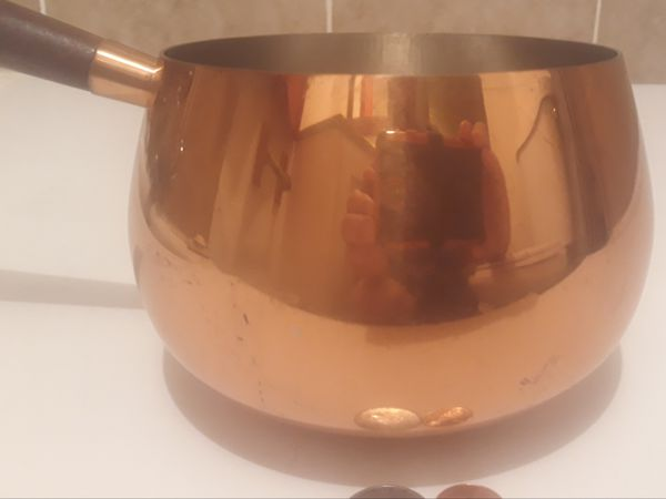 """Vintage Copper Metal Cooking Pot with Wooden Handle, 10"""" Long, and 6"""" x 4"""" Pot Size, Kitchen Decor, Shelf Display, Cooking,"""