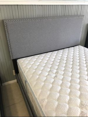 Fabric Bed Frame With Nailhead Trim In Twin / Full / Queen / King / Cali King for Sale in Clayton, CA