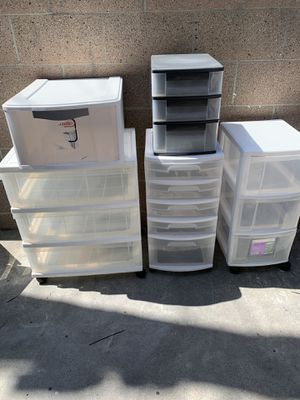 Several Sterilite Storage Containers. Shelves on casters for easy moving for Sale in Redondo Beach, CA