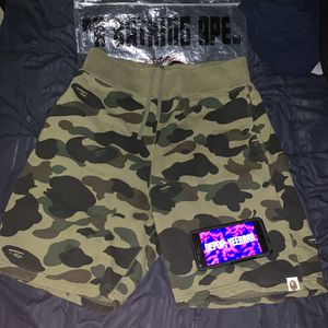 Bape Camo Shorts Green sweat sweatshorts A bathing ape 1st camouflage for Sale in New York, NY
