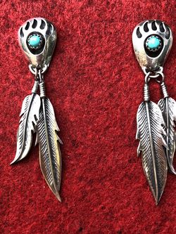 Silver & Turquoise Bear Paw / Feather Earrings for Sale in Gresham,  OR