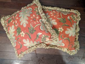 Two matching fringed Outdoor or indoor throw pillows for Sale in Gig Harbor, WA