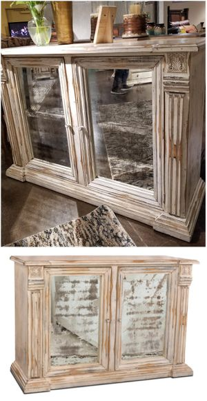 New Solid Wood Antique Mirror White Cabinet! for Sale in Goodyear, AZ