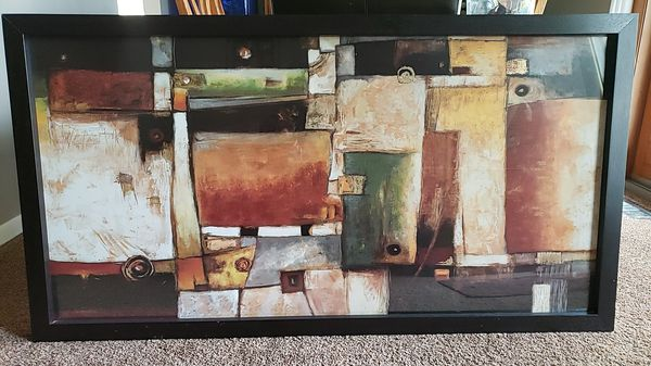 Z gallerie abstract print. 58 x 1 1/2 × 31