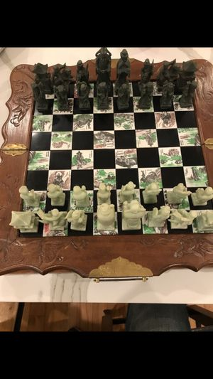 Chinese Asian Figure Chess Board Game Set Carved Dragon Wood Case Inlaid Tile. for Sale in Alexandria, VA