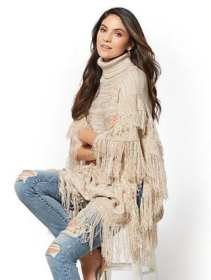 New York & Company Tiered Fringe Marled Poncho, Color- HONEY BEIGE HTR only Size- S/M for Sale in San Mateo, CA