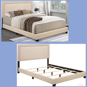 NEW!!! Cream Upholstered Queen Bed Frame with Nailhead Trim, Queen Frame, Bed for Sale in Phoenix, AZ