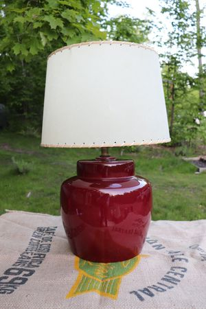 Ceramic Red Lamp + Laced Edge Bone Shade for Sale in Maple City, MI