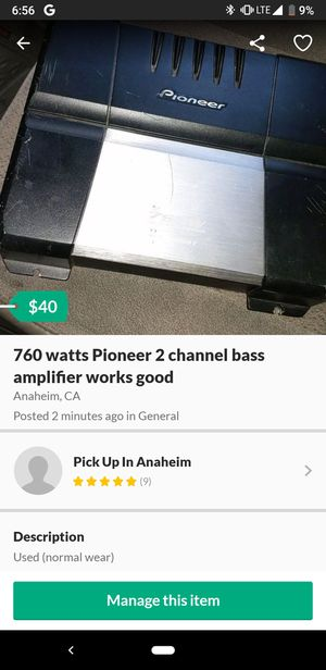 760 watts Pioneer 2 channel bass amplifier works good for Sale in Anaheim, CA