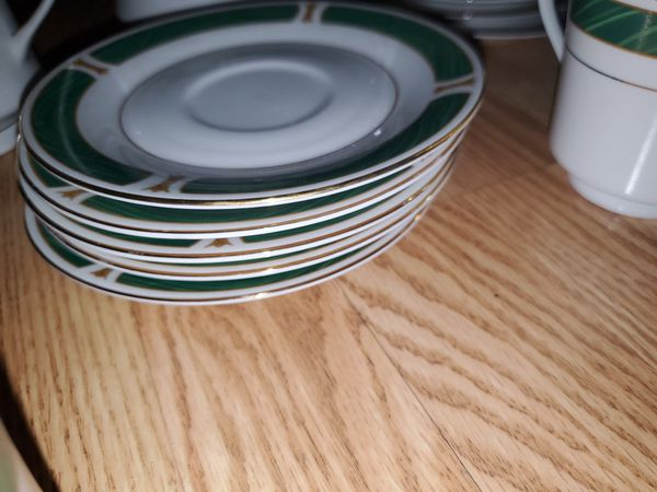 Antique Fine China Dinnerware set w/ gold trim and malachite inlay