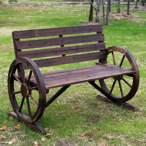 BRAND NEW!!! Rustic Wooden Outdoor Patio Wagon Wheel Bench Seat for Sale in Las Vegas, NV