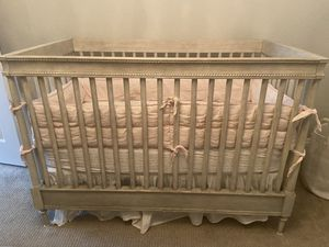 Restoration Hardware Crib, Mattress, Bumper, and crib skirt and changing pad for Sale in Denver, CO