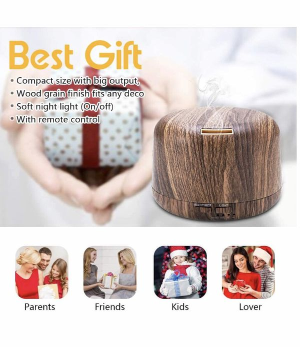 Aromatherapy Diffusers for Essential Oils 300ml Wood Grain Essential Oil Diffuser Humidifier with Remote 7 Colors Lights Timer Setting and Waterless