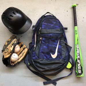 Baseball Bag, Bat 27in 19oz 2 5/8 Diameter, 12.5in Glove, Helmet for Sale in Las Vegas, NV