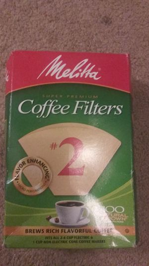 Melitta Super Premium #2 Cone Paper Coffee Filter Natural Brown, 100 Count for Sale in Boiling Springs, SC