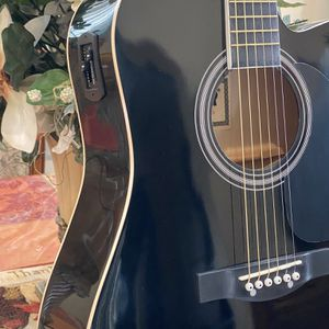 black fever electric acoustic guitar with metal strings for Sale in Downey, CA