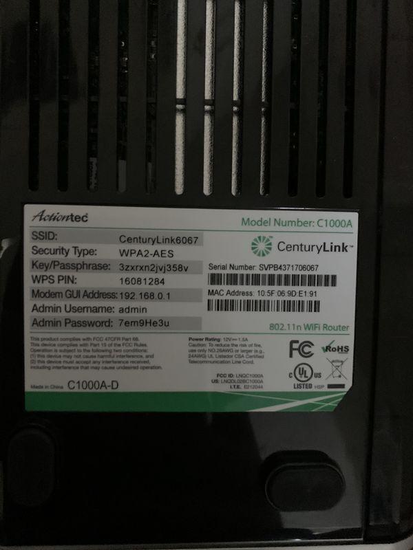 Century Link Actiontec modem/wireless router