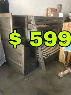 Beautiful new Twin over Full Wrangle hill bunk bed & under storage & staircase chest only 599$!!! Original price 2,644$!!! Sale price 2,055$!!! for Sale in San Leandro, CA