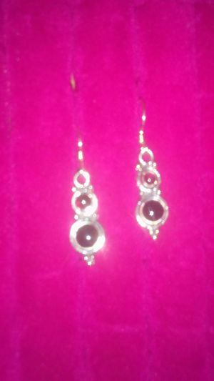 925 silver.earrings.stones...garnet for Sale in Tacoma, WA