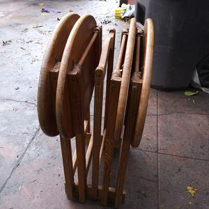 (4) VINTAGE SOLID WOOD TABLE STANDS WITH HOLDING RACK...$60 for Sale in Stockton, CA